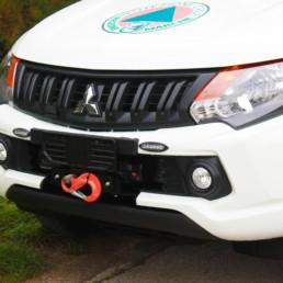 allestimento pick up protezione civile - dettaglio gancio traino - celiani allestimento veicoli