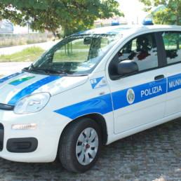allestimento veicolo polizia locale - allestimento esterno base - fiat panda regione abruzzo - celiani allestimento veicoli speciali