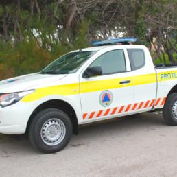 veicoli protezione civile_pick up dettaglio allestimento sonoro luminoso barra manta intav faro brandeggiante_celiani allestimento veicoli e forniture